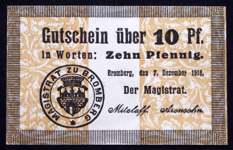 BROMBERG 1916 10 Pf circulating Notgeld Germany Posen today Poland