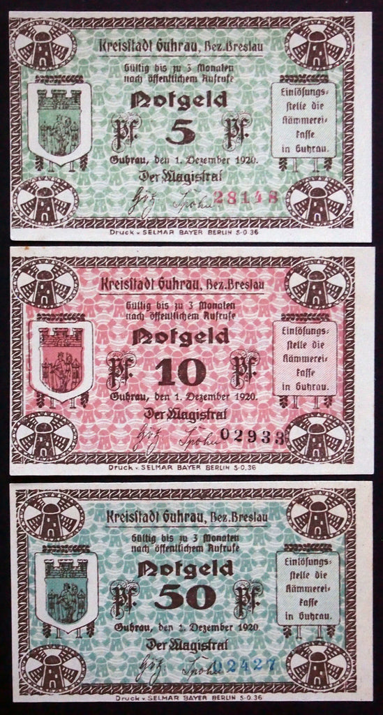 "GUHRAU 1920 ""Rathaus"" complete set circulating Notgeld Germany today Poland"