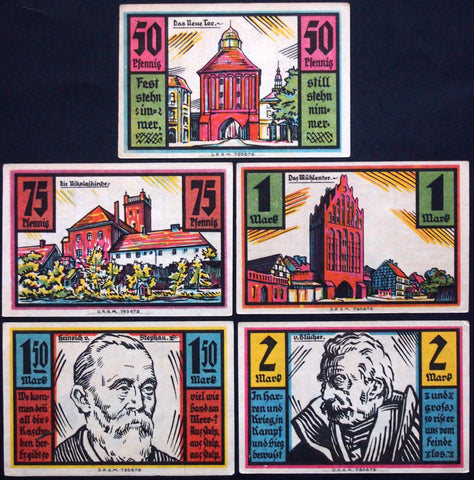 "STOLP 1922 ""City Views/Blücher/Heinrich von Stephan"" complete series German Notgeld"