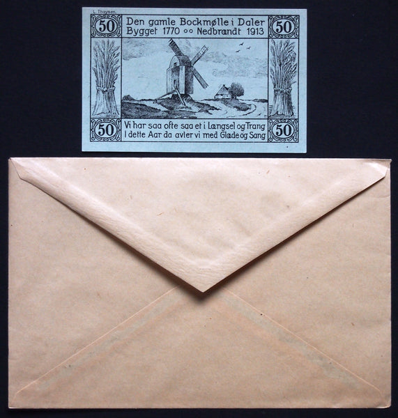 "DALER 1920 ""Hoisting Danish Flag"" Plebiscite 50 Pf + Robert Ball envelope! German Notgeld Denmark"