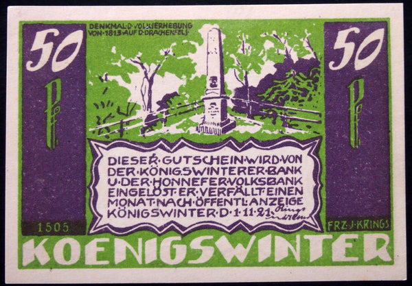 "KÖNIGSWINTER 1921 Rare CONFISCATED Note! ""They should not have it"" German Notgeld"