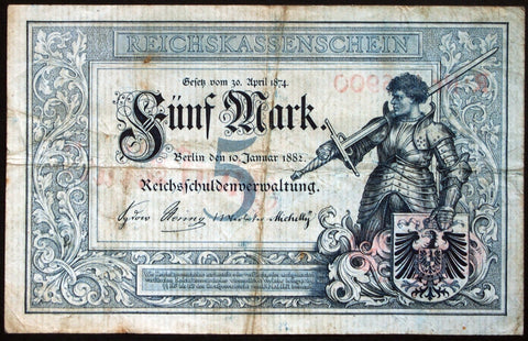 GERMANY 1882 nice even serial! 5 Mark P-4 Ros. 6 old & rare German Banknote
