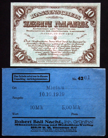 MITAU 1919 *XX-RARE* 10 Mark in 1920s Robert Ball envelope! Jelgava Latvia German Occupation