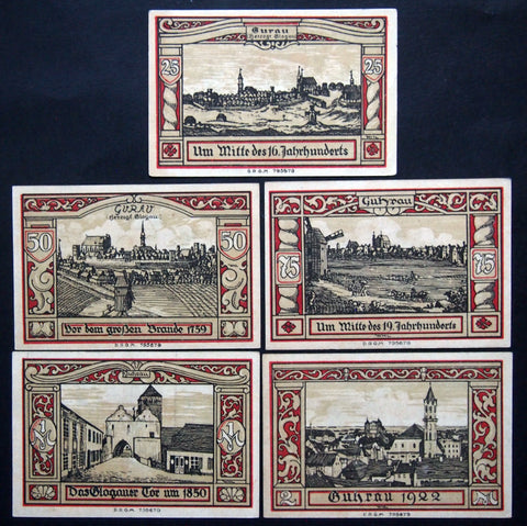 "GUHRAU 1922 ""Historical Portraits of Guhrau"" complete set German Notgeld Poland"