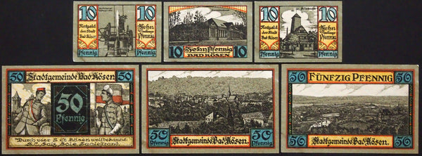 "BAD KÖSEN 1921 ""KSCV/Landscapes"" complete set German Notgeld"
