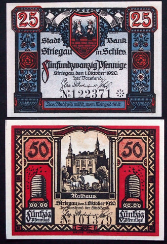 STRIEGAU 1920 complete set circulating Notgeld Germany Schlesien Strzegom Poland