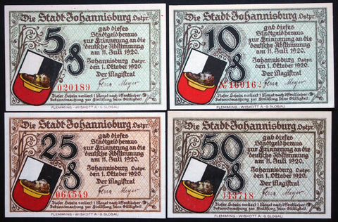 "JOHANNISBURG 1921 ""Plebiscite Notes"" complete series East Prussia German Notgeld"