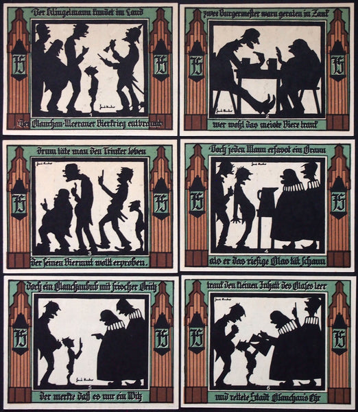 "GLAUCHAU 1921 ""Beer War Series"" complete silhouette series German Notgeld"