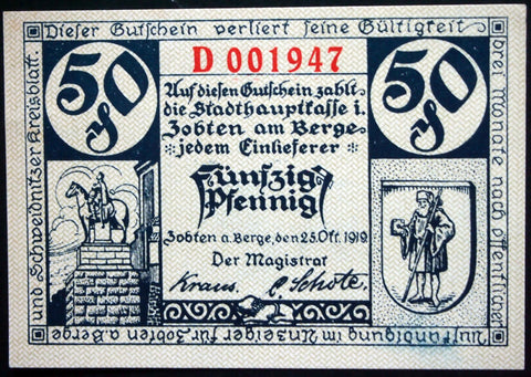 ZOBTEN 1919 50 Pf Series D German Notgeld now Sobótka Poland