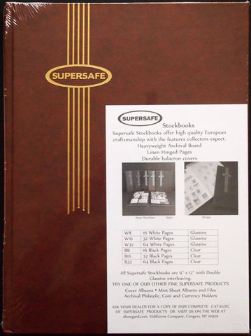 Notgeld Album Brown 16 White Pages Glassine Rows Supersafe Stockbook 9x12 Hardcover