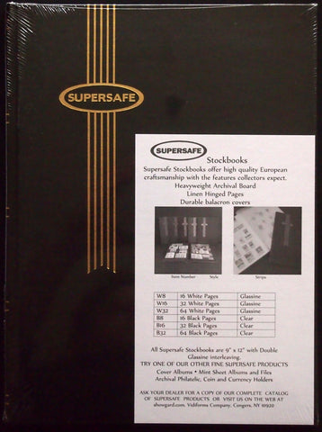 Notgeld Album Black 16 White Pages Glassine Rows Supersafe Stockbook 9x12 Hardcover