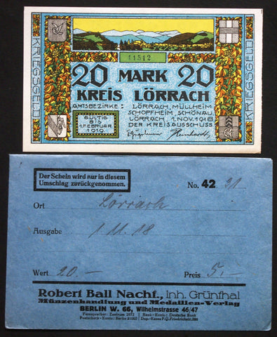 LÖRRACH 1918 20 Mark Grossnotgeld in 1920s Robert Ball dealer envelope! German Notgeld