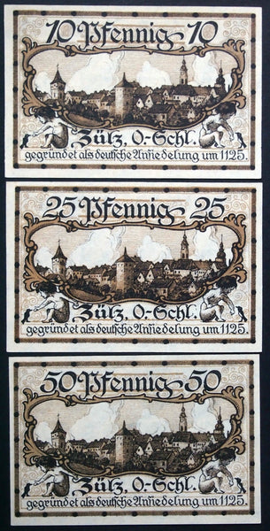 "ZÜLZ 1921 ""Founded as a German Settlement in 1125"" complete set Germany Notgeld"