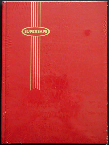 Hardcover Notgeld Album Bright Red 16 Black Pages Clear Rows Supersafe Stockbook 9x12