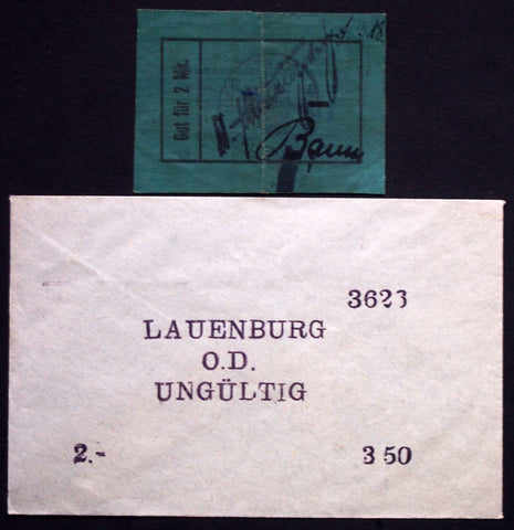 LAUENBURG 1914 *Linen* 2 Mark early cloth note in RARE Robert Ball envelope! German Notgeld today Lebork Poland