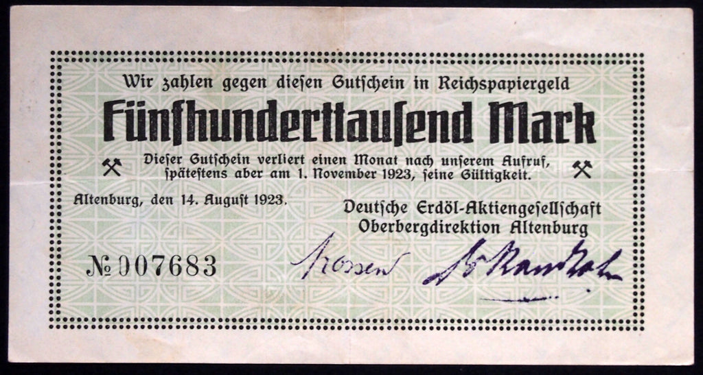 "ALTENBURG 1923 ""Deutsche Erdöl Petroleum Co."" 500,000 Mark Inflation Notgeld"