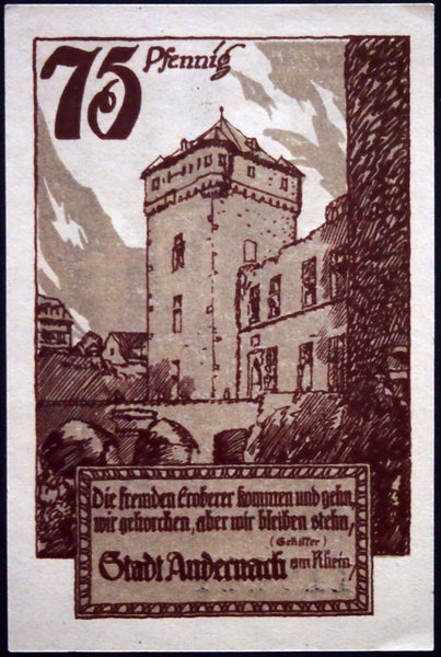 "ANDERNACH 1920 ""The Foreign Conquerors Come and Go"" Schiller quote Notgeld compl"