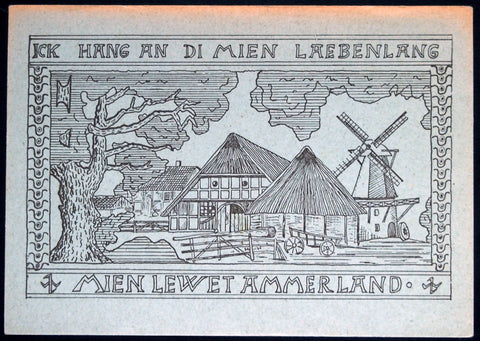 BAD ZWISCHENAHN *XX-RARE* 50 Pf Postcard German Notgeld Windmill Farmhouse