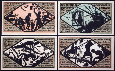 "VERDEN 1921 ""Execution Series"" complete silhouette set German Notgeld"