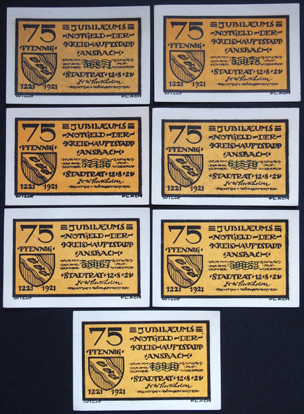 ANSBACH 1921 rare *THIN PAPER* complete series!! German Notgeld