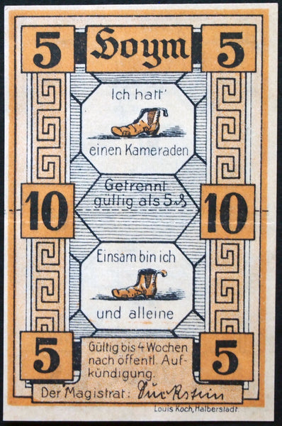 "HOYM 1920 ""I Had a Partner/Lonely Am I and Alone"" double-note German Notgeld"