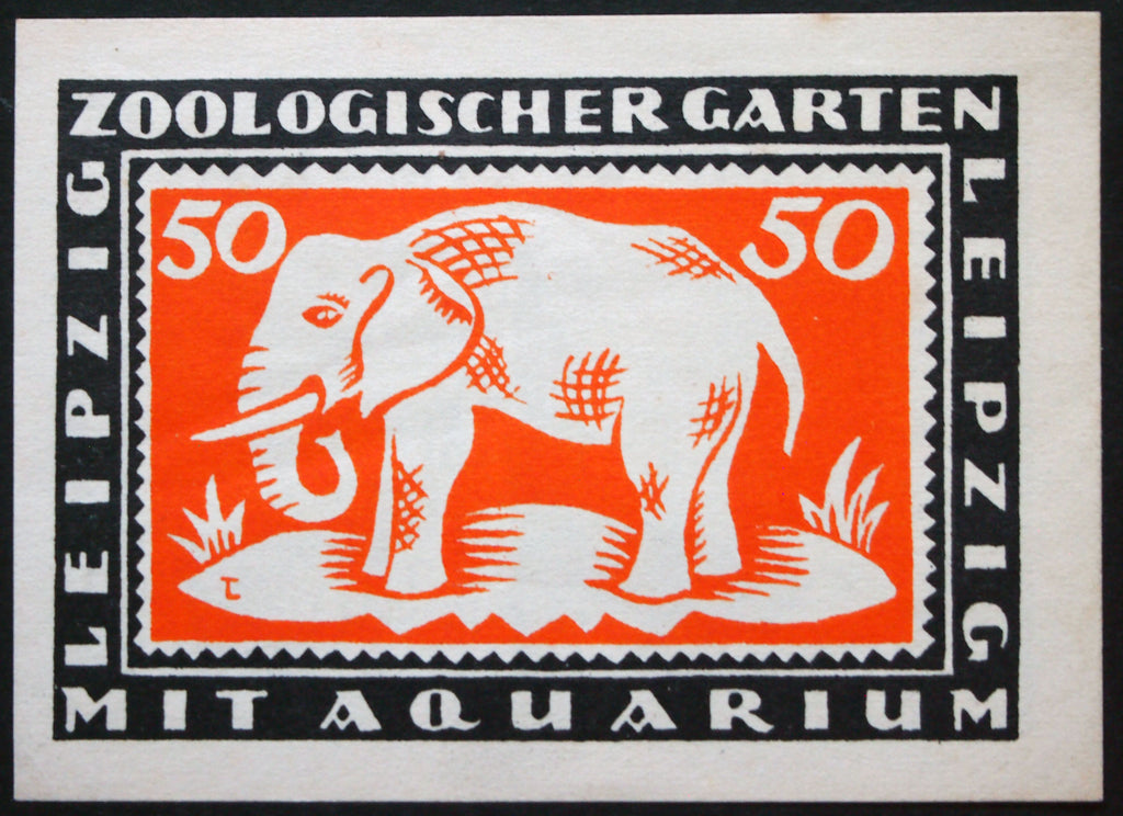 "LEIPZIG 1921 ""Zoological Gardens"" 50 Pf German Notgeld Zoo Elephant Aquarium rare complete"