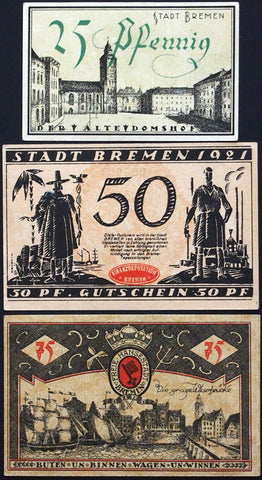 "BREMEN 1921 ""Colonial/Shipping Themes"" complete set Germany Notgeld"