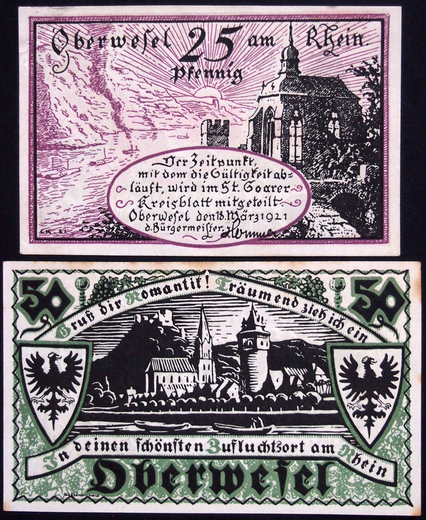 "OBERWESEL 1921 ""Castles on the Rhein"" complete series German Notgeld"