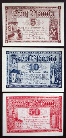 BUNZLAU 1919 complete set circulating Notgeld Germany today Bolaslawiec Poland