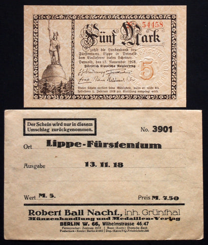 LIPPE 1918 5 Mark Grossnotgeld in 1920s Robert Ball dealer envelope! German Notgeld