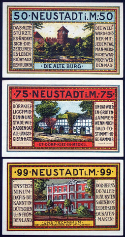 "NEUSTADT in MECKLENBURG 1921 ""The Old Castle"" complete series German Notgeld"
