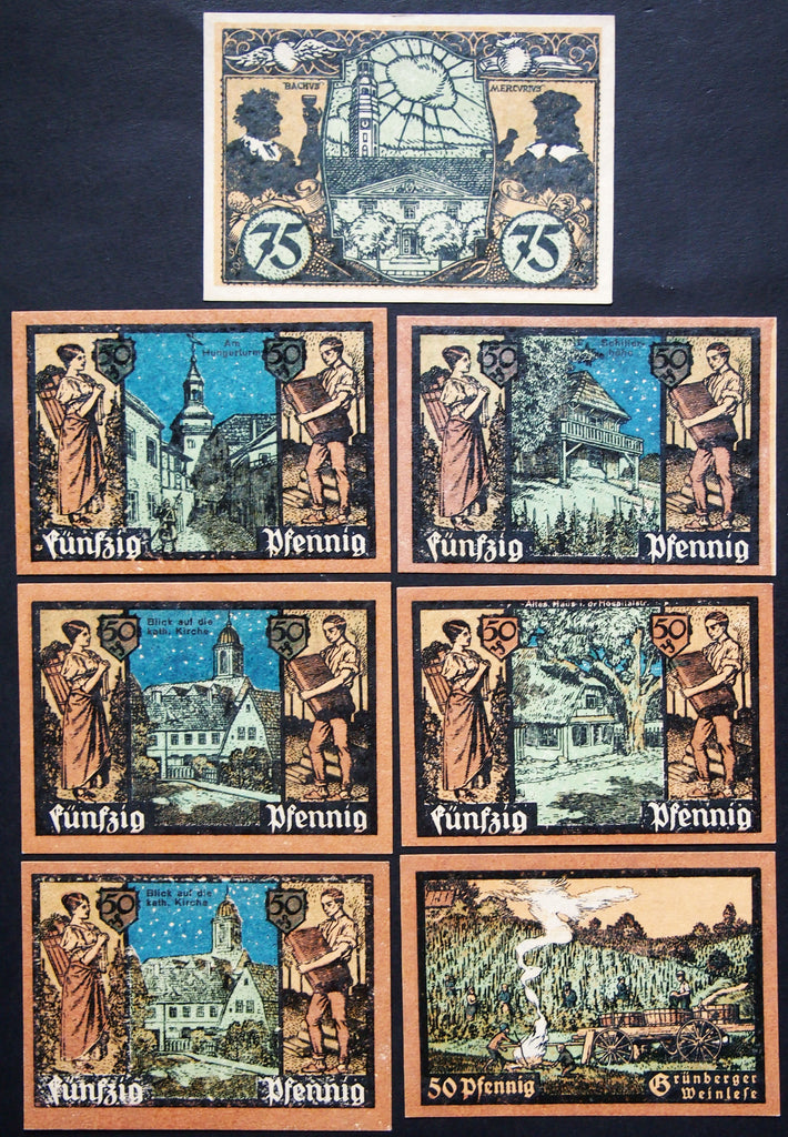 "GRÜNBERG 1921 ""City Views, Vineyards"" complete series German Notgeld today Poland"