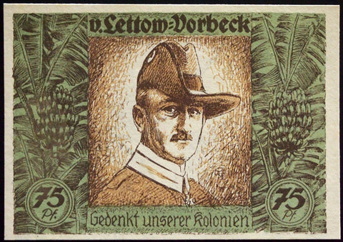 BERLIN 1921 *LETTOW-VORBECK ERROR NOTE* Africa German Colonies UNC Notgeld