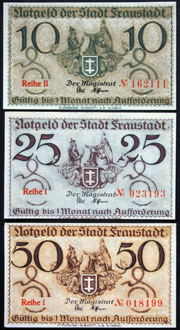 FRAUSTADT complete set circulating Notgeld Germany Posen Wschowa Poland