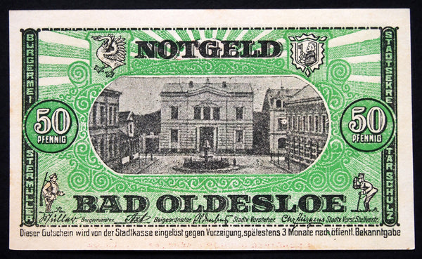 "BAD OLDESLOE 1921 ""Salt & Sulfur Baths"" 50 Pf German Notgeld"