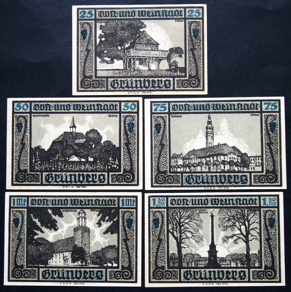 "GRÜNBERG 1922 ""Architecture & Monuments"" complete set German Notgeld"