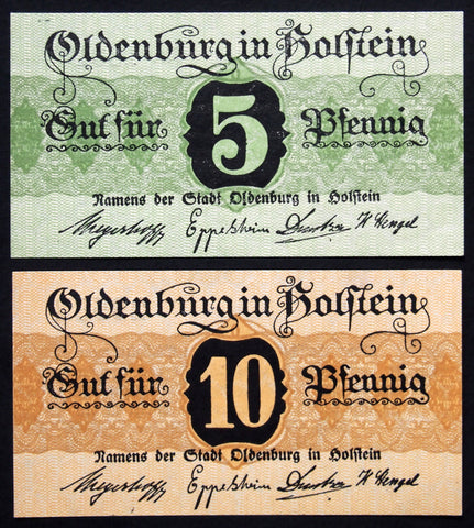 OLDENBURG (Schleswig-Holstein) 1917 5+10 Pf circulating Notgeld Germany