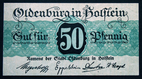 OLDENBURG (Schleswig-Holstein) 1917 rare watermark 50 Pf German Notgeld