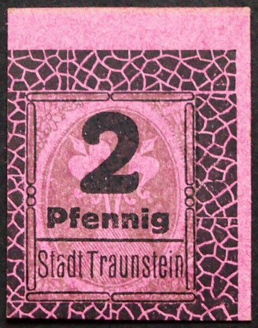 TRAUNSTEIN 1920 2 Pf small cardboard circulating German Notgeld