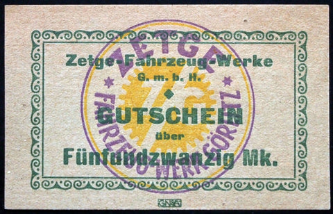 "GÖRLITZ 1922 ""Zetge Motorcycle Works"" rare 25 Mark German Notgeld Banknote"