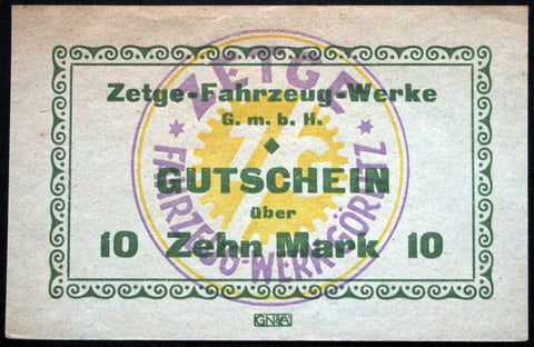 "GÖRLITZ 1922 ""Zetge Motorcycle Works"" rare 10 Mark German Notgeld Banknote"