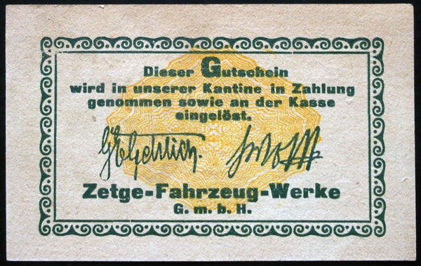 "GÖRLITZ 1922 ""Zetge Motorcycle Works"" rare 50 Mark German Notgeld Banknote"