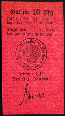 KOSCHMIN (POSEN) 1917 10 Pf WWI circulating Notgeld Germany today Kozmin Poland