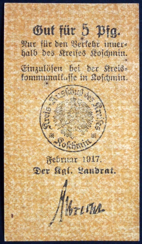 KOSCHMIN (POSEN) 1917 5 Pf WWI circulating Notgeld Germany today Kozmin Poland