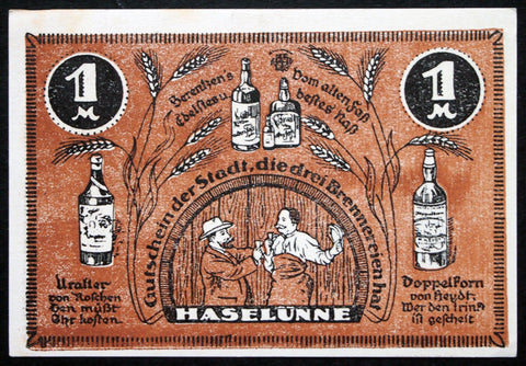 "HASELÜNNE 1921 ""The City With Three Distilleries"" rarer complete set of one German Notgeld"