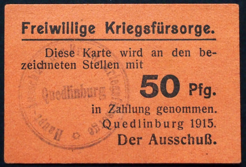 "QUEDLINBURG 1915 ""Voluntary War Relief Cmte."" rare 50 Pf early WWI Notgeld Germany"