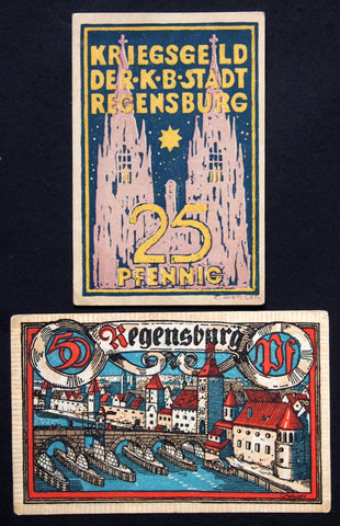 REGENSBURG 1918 Uncataloged upside-down error note! complete set Notgeld Germany Bavaria