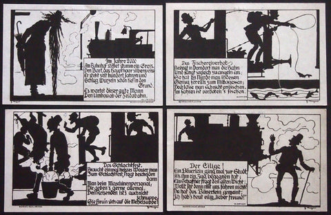 DERMBACH 1922 Great rare silhouette humor series! Very tough to find German Notgeld