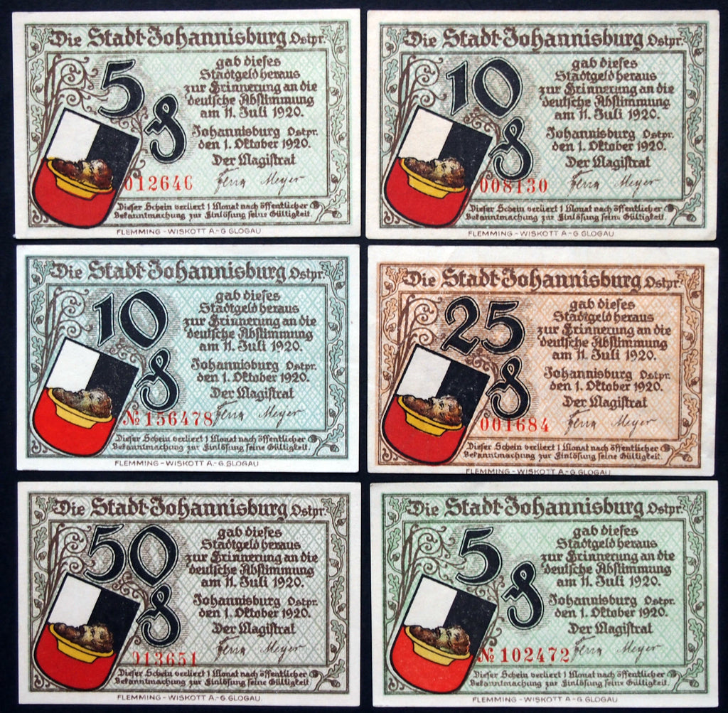 "JOHANNISBURG 1921 ""Plebiscite Notes"" complete series + two variants! East Prussia German Notgeld"