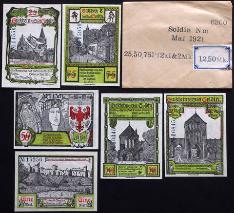 SOLDIN 1921 complete series in RARE Robert Ball envelope! German Notgeld today Poland